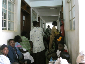Inside the clinic the wait continues - a typical 5-8 hour wait
