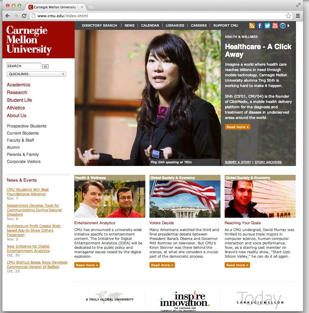Carnegie Mellon University Homepage Featured ClickMedix